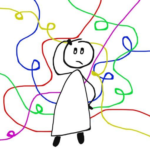 gezeichneter Mensch mit Schlangenlinien, Verwirrung