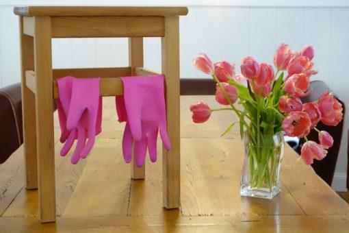 Bild mit hocker, Handschuhen und Tulpen