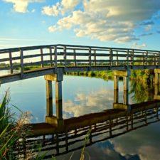 Brücke, die sich im Wasser spiegelt